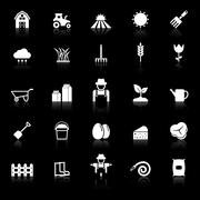 Farming icons with reflect on black background Stock Illustration