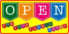 Fabric store open sign. Stock Illustration