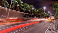 Pan Avenida Atlantica at night time lapse Rio de Janeiro Brazil Stock Footage