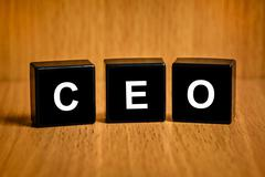 ceo or chief executive officer word on black block - stock photo