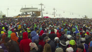 Stock Video Footage of crowd of skiers