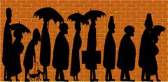 Stock Illustration of standing in line