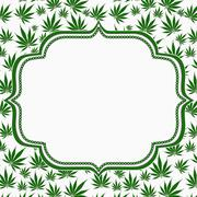 Marijuana leaves frame with embroidery background Stock Illustration