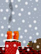 christmas chimney pots - stock illustration