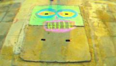 Stock Video Footage of Chalk portrait drawing process on concrete drain. Time lapse glitch TV look