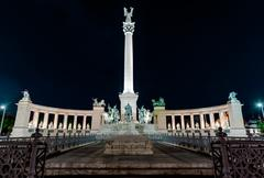 View of heroes' square at night Stock Photos