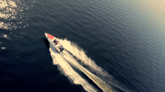 Aerial shot the boat rushing to the sea - stock footage