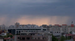 Storm Clouds Forming Over Bucharest, Skyline, Aerial, Hand Held Camera Pan Stock Footage