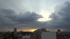 Sun Rays Trough The Clouds, Aerial, Skyline,Down Town Hand Held Camera Stock Footage