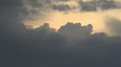 Sun Beneath A Storm Cloud, Aerial, Skyline, Hand Held Zoom Shot Stock Footage