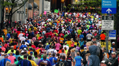 Sea of Pittsburgh Marathon Runners Stock Footage