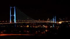 Bosporus Bosphorus Bridge, Istanbul, blue lit illumination, night car traffic Stock Footage