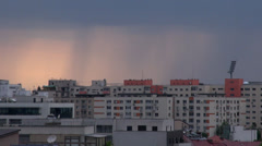 Storm Clouds Forming Over Bucharest, Skyline, Aerial, Hand Held Camera Zoom Shot Stock Footage