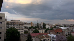 Storm Clouds Forming Over Bucharest, Skyline, Aerial, Hand Held Camera Shot Stock Footage