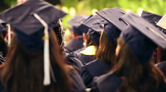 Graduation class students in auditorium Stock Footage