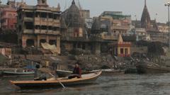 Varanasi-Manikarnika Ghat from boat Stock Footage