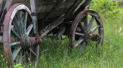 Traditional wooden carriage rest on green grass Stock Footage