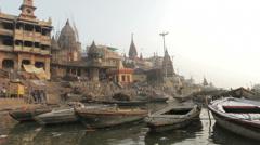 Varanasi-Manikarnika Ghat from boat - stock footage