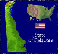 State of Delaware, USA hi res aerial view - stock illustration