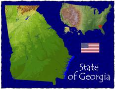 State of Georgia, USA hi res aerial view Stock Illustration