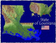 State of Louisiana , USA hi res aerial view - stock illustration
