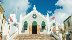 St. Peter's Church in St. George's, Bermuda Stock Footage