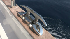 Chrome bollard on boat - stock footage