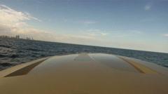 Boat navigating close to Miami coast - stock footage