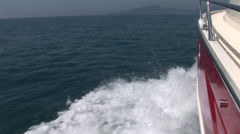 Lateral side of a navigating boat - stock footage