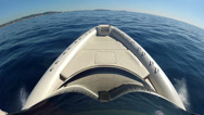 Stock Video Footage of Bow of a navigating maxi rib