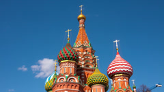 Vasily Blazhennogo's cathedral on a background of the blue sky Stock Footage