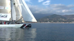 Catamaran navigating slowly Stock Footage