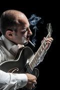 smoking jazzer - stock photo