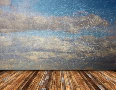 abstract view of distressed beautiful  sky from vintage wooden  terrace, natu - stock illustration