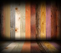 Colorful different planks interior design, room architectural abstract backdr Stock Illustration