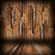 brown  planks finishing on interior backdrop, walls and floor resembling empt - stock illustration