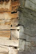 exterior corner detail of traditional wooden church from transylvania, romani - stock photo
