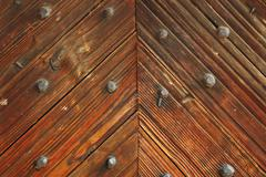 Interesting pattern on wood door of romanian traditional church Stock Photos