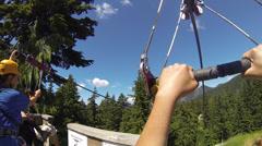 Zipline head cam view fast Stock Footage
