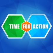 time for action in hexagons, flat design - stock illustration