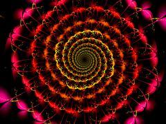 abstract fractal spiral art on the black background - stock illustration