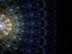 symmetrical gold and dark blue fractal flower - stock illustration