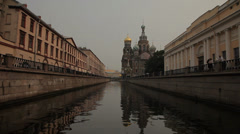 Floating Down Saint-Petersburg River in smooth motion. Stock Footage