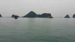 Halong bay Vietnam. Ha Long Bay speed motion timelapse aerial view Stock Footage