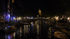 Night Amsterdam center Stock Footage