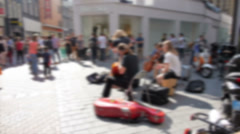 Amsterdam center, street performers Stock Footage