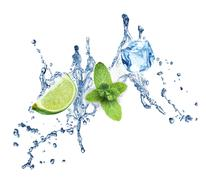 Ice cubes, mint leaves and lime on a white Stock Illustration