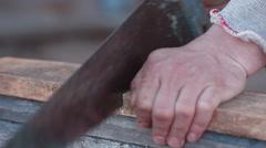 Hands working planer - stock footage