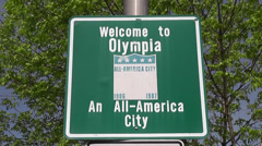 Welcome To Olympia Sign In West Olympia Stock Footage