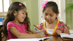 Two sisters going over homework Stock Footage